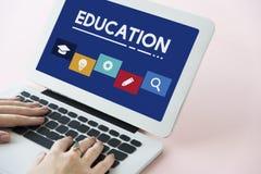 Concept de boîtes d'icône d'école d'éducation Image libre de droits