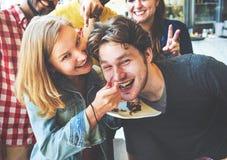Concept de bonbons à dessert d'amis de boulangerie de couples Photographie stock