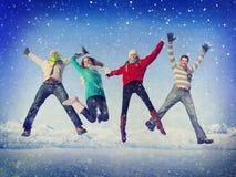 Concept de bonheur d'hiver d'amitié de célébration de Noël Photos libres de droits