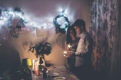 Concept de bonne année et de Joyeux Noël hipste élégant heureux Photos stock