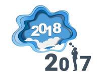 concept de 2018 bonnes années, symboles du début et célébration, inspiration à la mode de calibre pour votre conception Photo stock