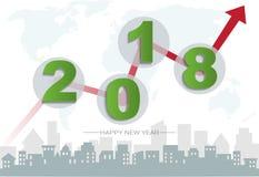 concept de 2018 bonnes années, symboles du début et célébration, inspiration à la mode de calibre pour votre conception Illustration Stock