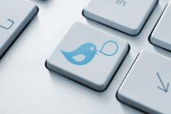 Concept de bouton de Twitter Photos libres de droits