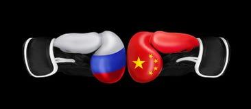 Concept de boxe sur différents milieux Image libre de droits
