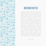 Concept de bronchite avec la ligne mince icônes illustration libre de droits
