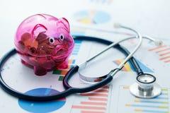 concept de budget de soins de santé - stéthoscope sur des diagrammes Image libre de droits