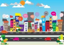 Concept de bulles de la parole de ville Photographie stock libre de droits