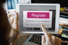 Concept de bulletin d'information de s'inscrire de rejoignez-nous images stock