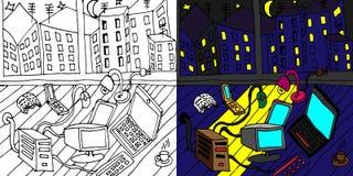Concept de bureau de nuit avec des éléments de bureau dans l'appartement illustration libre de droits