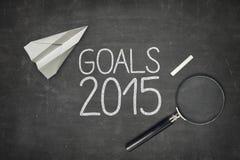 Concept 2015 de buts sur le tableau noir noir avec vide Photographie stock libre de droits
