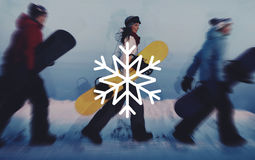 Concept de célébration de flocon de neige de neige de saison d'hiver Photographie stock libre de droits