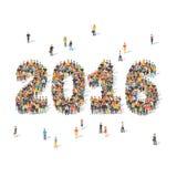 Concept de célébration de nouvelle année Les gens formant 2016 Photo stock