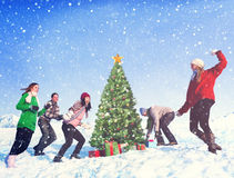 Concept de célébration de vacances d'hiver de Noël d'amis Image stock