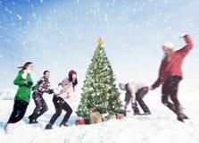 Concept de célébration de vacances d'hiver de Noël d'amis Image libre de droits