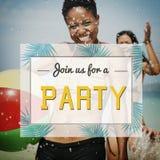 Concept de célébration invité par invitation de partie d'été photographie stock libre de droits