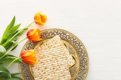 Concept de célébration de Pesah et x28 ; holiday& juif x29 de pâque ; Vue supérieure, configuration plate images libres de droits