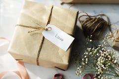 Concept de cadeau de présent de carte d'étiquette de label de message Photos stock