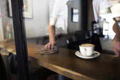 Concept de café de service client de personnel de service de portion photo stock