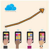 Concept de calcul de fond de technologie plate de nuage Stockage de données Photo libre de droits
