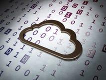 Concept de calcul de nuage :  Nuage sur le fond de code binaire Photographie stock libre de droits