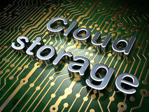 Concept de calcul de nuage : Stockage de nuage sur le fond de carte Image libre de droits