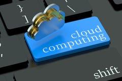 Concept de calcul de nuage sur le bouton de clavier Images stock