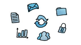 Concept de calcul de nuage, tiré par la main (loopable) illustration stock