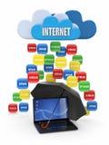 Concept de calcul de nuage. Virus, protection de Spam Images stock