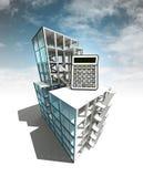 Concept de calcul de plan architectural de bâtiment avec le ciel Photographie stock libre de droits