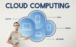 Concept de calcul de technologie de connexion de conception de réseaux de données de nuage Photos libres de droits