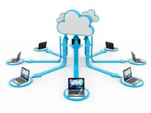 Concept de calcul de nuage, réseau de nuage rendu 3d photographie stock libre de droits