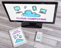 Concept de calcul de nuage sur différents dispositifs photographie stock libre de droits