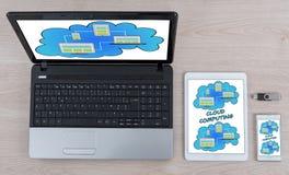 Concept de calcul de nuage sur différents dispositifs photo stock