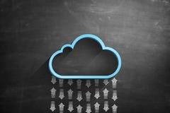 Concept de calcul de nuage sur le tableau noir illustration libre de droits