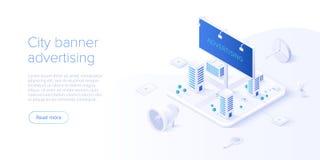 Concept de campagne de publicité extérieure dans la conception isométrique de vecteur Vente en différé ou d'interruption avec la  illustration de vecteur