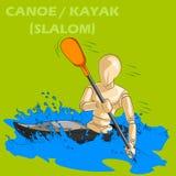 Concept de canoë ou de kayak avec le mannequin humain en bois Image stock