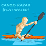 Concept de canoë ou de kayak avec le mannequin humain en bois Photographie stock libre de droits