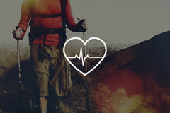 Concept de cardiogramme de santé de la vie de soins de santé de battement de coeur Images stock