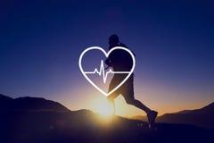 Concept de cardiogramme de santé de la vie de soins de santé de battement de coeur Photo libre de droits