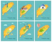 Concept de carte de Taïwan dans le graphique de l'océan pacifique Photos stock
