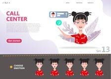 Concept de centre d'appels Femme asiatique chinoise de personnage de dessin animé illustration de vecteur