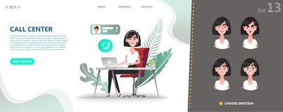 Concept de centre d'appels Femme de personnage de dessin animé illustration libre de droits