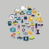 Concept de cercle d'icône de voyage. Images stock