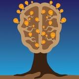 Concept de cerveau comme arbre avec des ampoules comme solutions Illustration de Vecteur