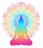 Concept de Chakra Amour, lumière et paix intérieurs Silhouette de Bouddha illustration libre de droits