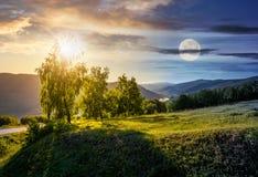 Concept de changement de temps en montagnes photographie stock