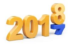 2017 concept de 2018 changements Représente la nouvelle année orange et bleue Photos stock