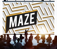 Concept de chemin de Maze Challenge Confusion Direction Exit photographie stock