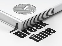 Concept de chronologie : horloge de livre, temps de coupure sur le blanc Photographie stock