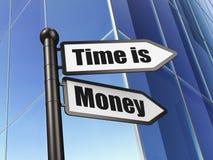 Concept de chronologie : Le temps, c'est de l'argent sur le fond de bâtiment Images libres de droits